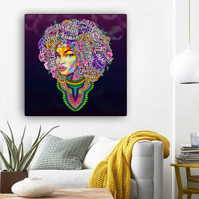 "BigProStore African Canvas Art Pretty Black American Woman African American Artwork On Canvas Afrocentric Home Decor Ideas BPS46884 12"" x 12"" x 0.75"" Square Canvas"