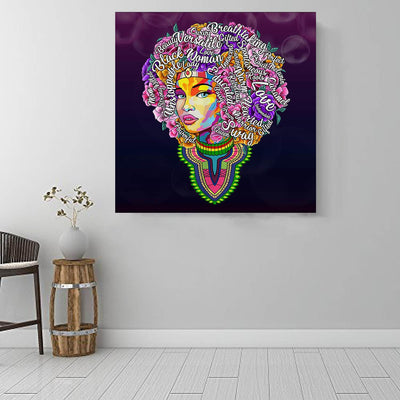 "BigProStore African Canvas Art Pretty Black American Woman African American Artwork On Canvas Afrocentric Home Decor Ideas BPS46884 16"" x 16"" x 0.75"" Square Canvas"