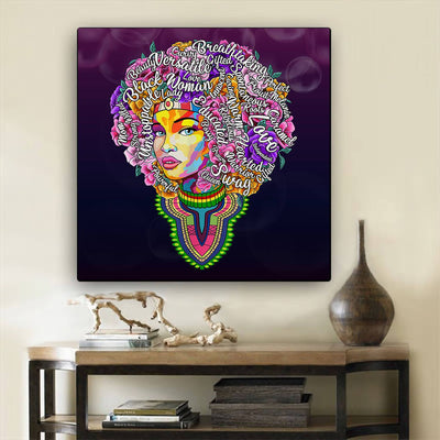 "BigProStore African Canvas Art Pretty Black American Woman African American Artwork On Canvas Afrocentric Home Decor Ideas BPS46884 24"" x 24"" x 0.75"" Square Canvas"