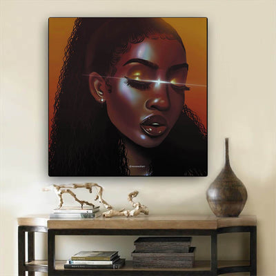 "BigProStore African Canvas Art Pretty Black American Woman African Canvas Afrocentric Decorating Ideas BPS25626 12"" x 12"" x 0.75"" Square Canvas"