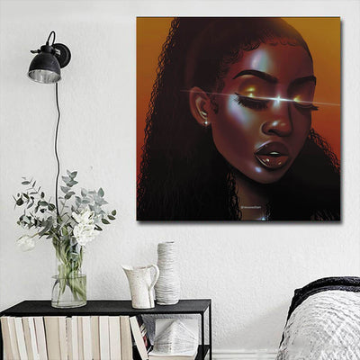 "BigProStore African Canvas Art Pretty Black American Woman African Canvas Afrocentric Decorating Ideas BPS25626 16"" x 16"" x 0.75"" Square Canvas"