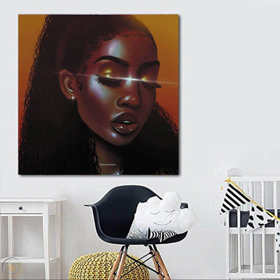 "BigProStore African Canvas Art Pretty Black American Woman African Canvas Afrocentric Decorating Ideas BPS25626 24"" x 24"" x 0.75"" Square Canvas"