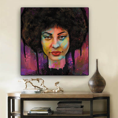 "BigProStore African Canvas Art Pretty Black Girl African American Canvas Wall Art Afrocentric Decorating Ideas BPS22462 12"" x 12"" x 0.75"" Square Canvas"