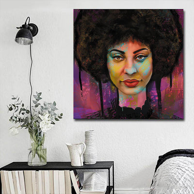 "BigProStore African Canvas Art Pretty Black Girl African American Canvas Wall Art Afrocentric Decorating Ideas BPS22462 16"" x 16"" x 0.75"" Square Canvas"