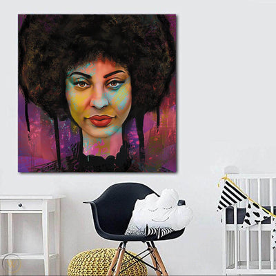 "BigProStore African Canvas Art Pretty Black Girl African American Canvas Wall Art Afrocentric Decorating Ideas BPS22462 24"" x 24"" x 0.75"" Square Canvas"