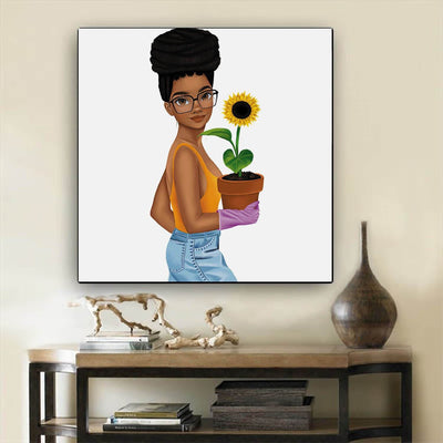 "BigProStore African Canvas Art Pretty Black Girl Framed African Wall Art Afrocentric Decor BPS66184 12"" x 12"" x 0.75"" Square Canvas"