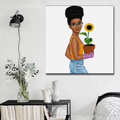 "BigProStore African Canvas Art Pretty Black Girl Framed African Wall Art Afrocentric Decor BPS66184 16"" x 16"" x 0.75"" Square Canvas"