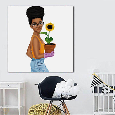 "BigProStore African Canvas Art Pretty Black Girl Framed African Wall Art Afrocentric Decor BPS66184 24"" x 24"" x 0.75"" Square Canvas"