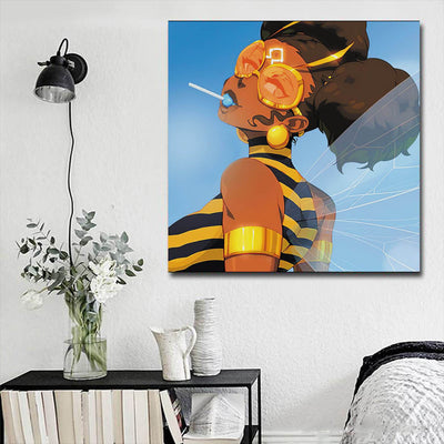 "BigProStore African Canvas Art Pretty Girl With Afro African American Abstract Art Afrocentric Home Decor Ideas BPS96987 16"" x 16"" x 0.75"" Square Canvas"