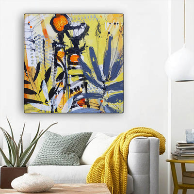 "BigProStore African Canvas Art Pretty Girl With Afro African American Women Art Afrocentric Living Room Ideas BPS92015 12"" x 12"" x 0.75"" Square Canvas"
