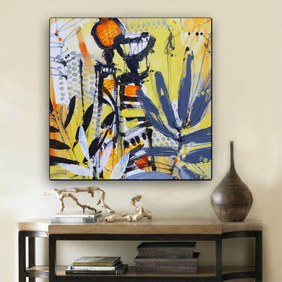"BigProStore African Canvas Art Pretty Girl With Afro African American Women Art Afrocentric Living Room Ideas BPS92015 24"" x 24"" x 0.75"" Square Canvas"