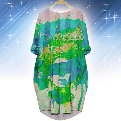 BigProStore African Fashion Dresses Beautiful African American Girl Long Sleeve Pocket Dress Modern Afrocentric Clothing BPS76197 S (4-6 US)(8 UK) Women Dress