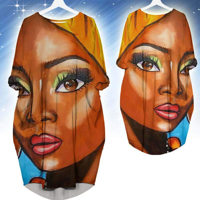 BigProStore African Fashion Dresses Beautiful Melanin Poppin Girl Long Sleeve Pocket Dress Afrocentric Dress Styles BPS48433 S (4-6 US)(8 UK) Women Dress