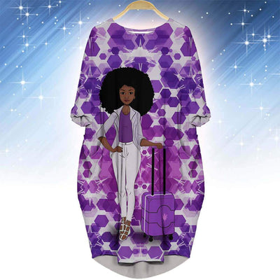 BigProStore African Print Dresses Cute African American Female Long Sleeve Pocket Dress African Print Clothing BPS98120 S (4-6 US)(8 UK) Women Dress