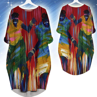 BigProStore Afrocentric Dress Beautiful Afro American Girl Long Sleeve Pocket Dress African Fashion Styles BPS18404 S (4-6 US)(8 UK) Women Dress