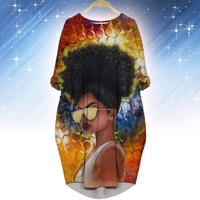 BigProStore Afrocentric Dress Beautiful Afro American Girl Long Sleeve Pocket Dress African Print Dresses Styles BPS27127 S (4-6 US)(8 UK) Women Dress
