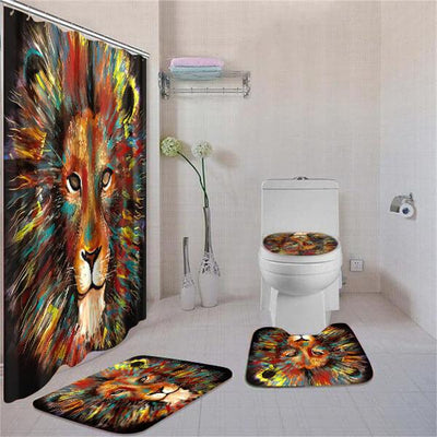 BigProStore Amazing African American Art African Animals Shower Curtain Bathroom Set 4pcs Cool Afrocentric Bathroom Accessories BPS3021 Standard (180x180cm | 72x72in) Bathroom Sets