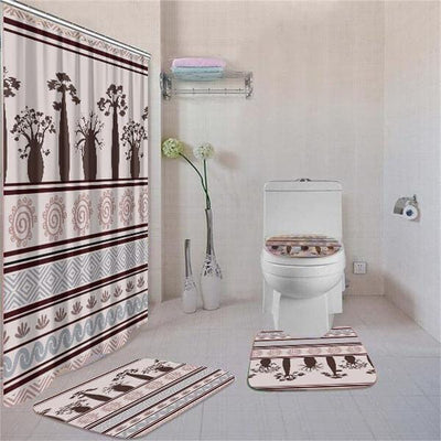 BigProStore Amazing African American History Month Afrocentric Pattern Art Shower Curtain Bathroom Set 4pcs Cool Afrocentric Bathroom Decor BPS3546 Standard (180x180cm | 72x72in) Bathroom Sets