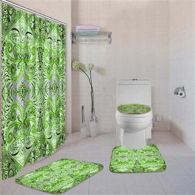 BigProStore Amazing Afrocentric Afrocentric Pattern Art Bathroom Shower Curtain Set 4pcs Cool African Bathroom Accessories BPS3331 Standard (180x180cm | 72x72in) Bathroom Sets