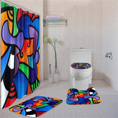 BigProStore Attractive African American Art Afrocentric Pattern Art Bathroom Shower Curtain Set 4pcs Modern Afrocentric Bathroom Decor BPS3231 Standard (180x180cm | 72x72in) Bathroom Sets