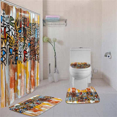 BigProStore Attractive African American Ethnic Seamless Pattern Shower Curtain Bathroom Set 4pcs Nice Afrocentric Bathroom Decor BPS3076 Standard (180x180cm | 72x72in) Bathroom Sets
