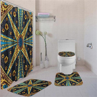 BigProStore Attractive African American History Month Ethnic Seamless Pattern Shower Curtain Bathroom Set 4pcs Trendy African Bathroom Decor BPS3379 Standard (180x180cm | 72x72in) Bathroom Sets
