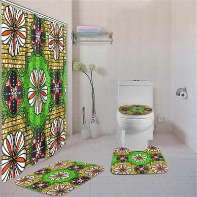BigProStore Attractive Afrocentric Afrocentric Art Shower Curtain Set 4pcs Nice Afrocentric Bathroom Accessories BPS3146 Standard (180x180cm | 72x72in) Bathroom Sets