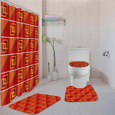 BigProStore Attractive Black History Month Afrocentric Art Shower Curtain Set 4pcs Trendy African Bathroom Decor BPS3502 Standard (180x180cm | 72x72in) Bathroom Sets