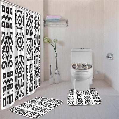 BigProStore Awesome African American History Month Afrocentric Pattern Art Shower Curtain Bathroom Set 4pcs Modern African Bathroom Decor BPS3459 Standard (180x180cm | 72x72in) Bathroom Sets