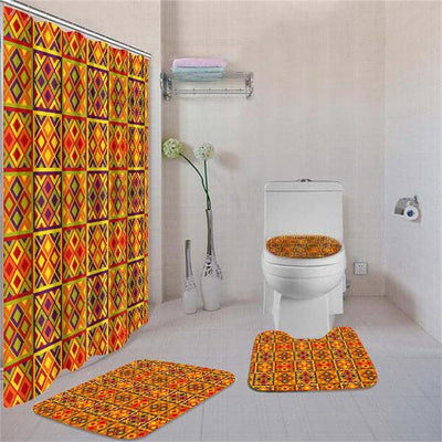 BigProStore Awesome African American History Month Seamless Pattern Bathroom Shower Curtain Set 4pcs Nice African Bathroom Accessories BPS3252 Standard (180x180cm | 72x72in) Bathroom Sets