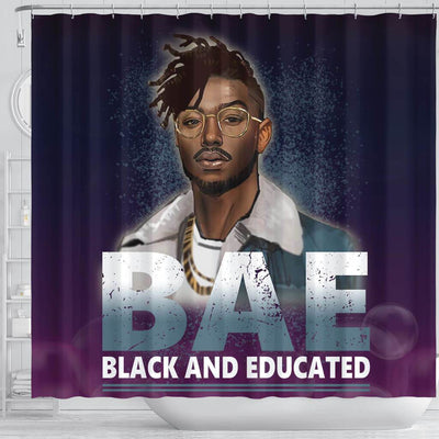 BigProStore Awesome BAE Black And Educated Man Black History Shower Curtains African Style Designs BPS053 Shower Curtain