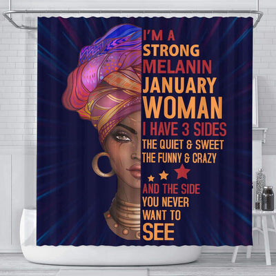 BigProStore Awesome I Am A Strong Melanin January Woman Afro Girl Shower Curtains African American Afro Bathroom Accessories BPS052 Small (165x180cm | 65x72in) Shower Curtain