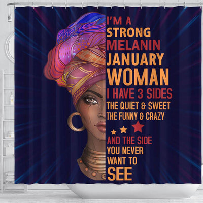 BigProStore Awesome I Am A Strong Melanin January Woman Afro Girl Shower Curtains African American Afro Bathroom Accessories BPS052 Shower Curtain