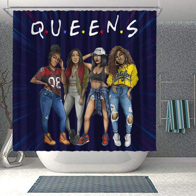 BigProStore Awesome Melanin Girls Queens Shower Curtains African American African Bathroom Accessories BPS154 Shower Curtain