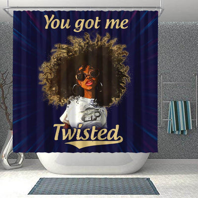 BigProStore Awesome You Got Me Twisted Afro Girl Afro American Shower Curtains Afro Bathroom Decor BPS242 Shower Curtain