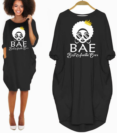 BigProStore African American Dresses BAE Best Auntie Ever Long Sleeve Dress Black Women Shirt Summer Dress Afrocentric Clothing Black History Gift Ideas Black / S Women Dress