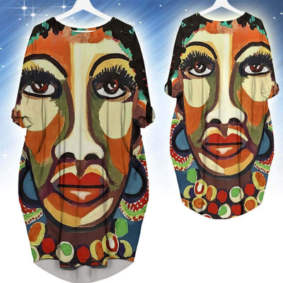 BigProStore Beautiful African Dresses Beautiful Black Afro Lady Long Sleeve Pocket Dress African Print Clothing BPS51415 S (4-6 US)(8 UK) Women Dress
