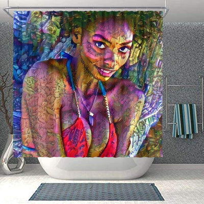 BigProStore Beautiful African Shower Curtain African Lady Bathroom Accessories BPS0126 Small (165x180cm | 65x72in) Shower Curtain