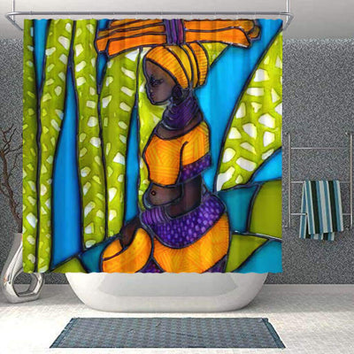 BigProStore Beautiful African Shower Curtain Black Girl Bathroom Decor Idea BPS0071 Small (165x180cm | 65x72in) Shower Curtain