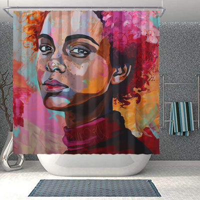 BigProStore Beautiful Afro American Shower Curtains African Girl Bathroom Decor BPS0031 Small (165x180cm | 65x72in) Shower Curtain