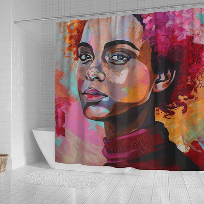 BigProStore Beautiful Afro American Shower Curtains African Girl Bathroom Decor BPS0031 Shower Curtain