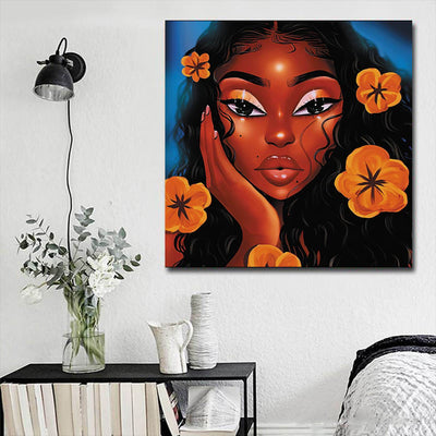 "BigProStore Black History Art Beautiful African American Girl African American Wall Art And Decor Afrocentric Decorating Ideas BPS21968 16"" x 16"" x 0.75"" Square Canvas"