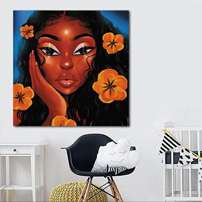 "BigProStore Black History Art Beautiful African American Girl African American Wall Art And Decor Afrocentric Decorating Ideas BPS21968 24"" x 24"" x 0.75"" Square Canvas"