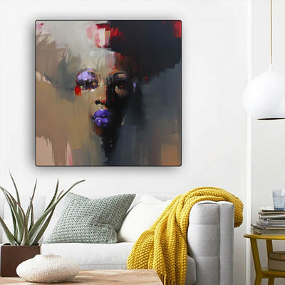 "BigProStore Black History Art Beautiful African American Girl Modern African American Art Afrocentric Living Room Ideas BPS92648 12"" x 12"" x 0.75"" Square Canvas"