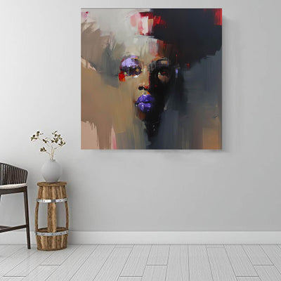 "BigProStore Black History Art Beautiful African American Girl Modern African American Art Afrocentric Living Room Ideas BPS92648 16"" x 16"" x 0.75"" Square Canvas"