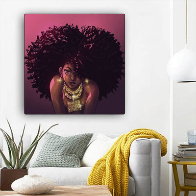 "BigProStore Black History Art Beautiful Afro American Girl African American Black Art Afrocentric Decor BPS90109 12"" x 12"" x 0.75"" Square Canvas"