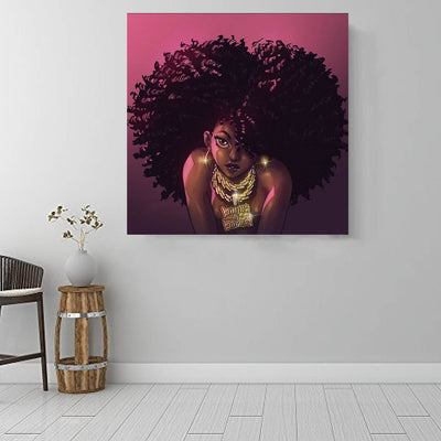 "BigProStore Black History Art Beautiful Afro American Girl African American Black Art Afrocentric Decor BPS90109 16"" x 16"" x 0.75"" Square Canvas"