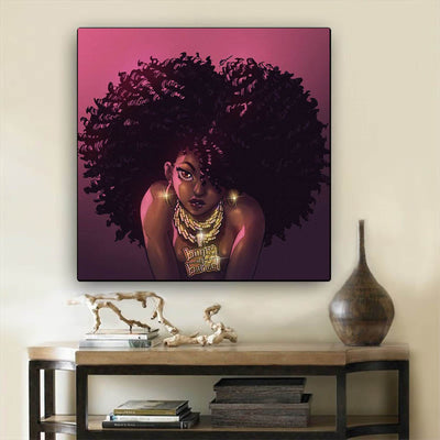 "BigProStore Black History Art Beautiful Afro American Girl African American Black Art Afrocentric Decor BPS90109 24"" x 24"" x 0.75"" Square Canvas"