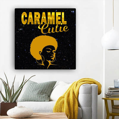 "BigProStore Black History Art Beautiful Black Afro Girls African Canvas Afrocentric Decorating Ideas BPS75009 12"" x 12"" x 0.75"" Square Canvas"