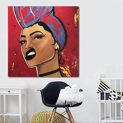"BigProStore Black History Art Beautiful Black Afro Lady Modern Black Art Afrocentric Home Decor Ideas BPS66979 24"" x 24"" x 0.75"" Square Canvas"